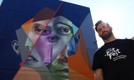 Belin crea un mural de gran formato en el 'Lleida_potFest' para reflexionar sobre la humanidad como una raza única